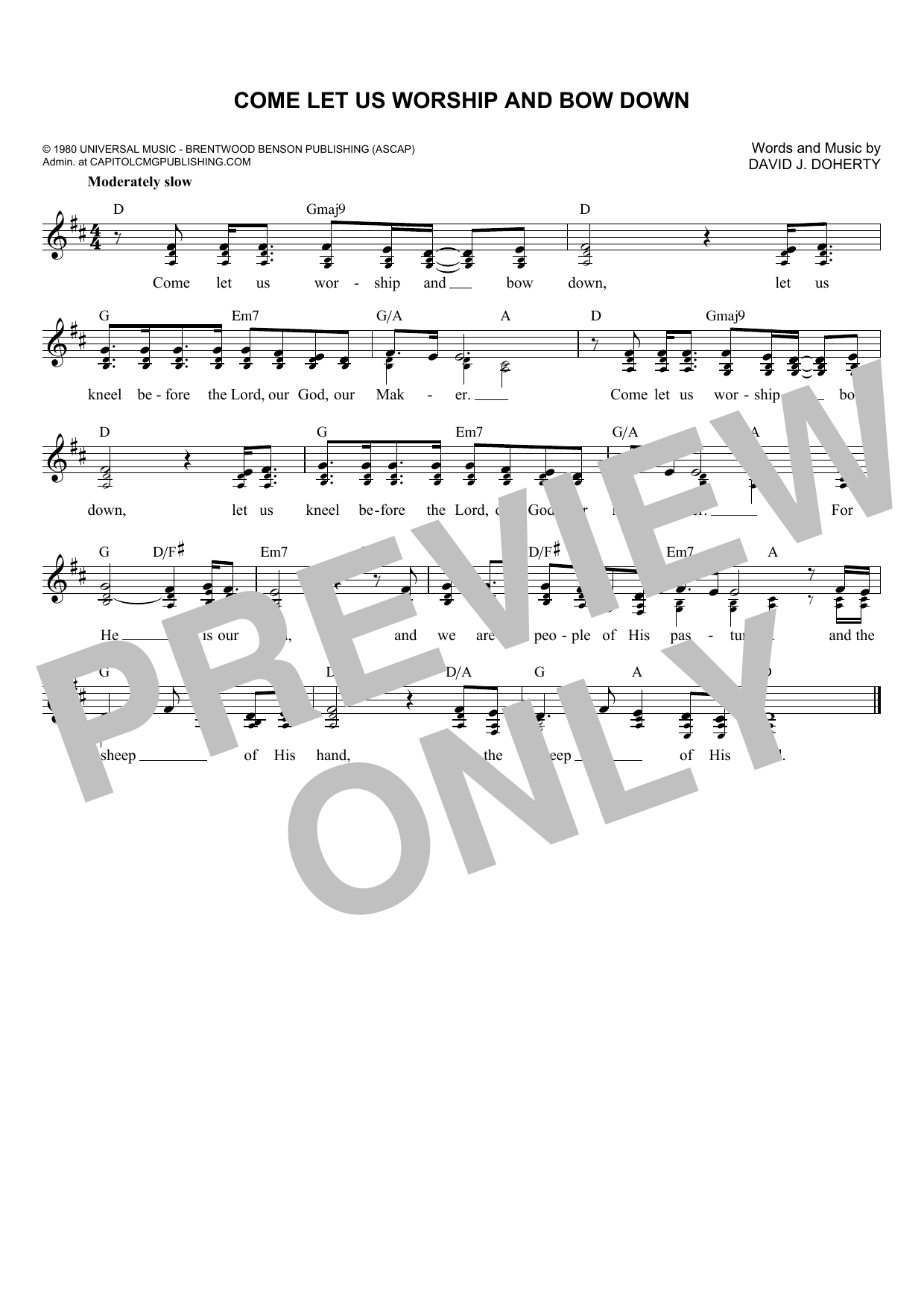David J. Doherty Come Let Us Worship And Bow Down sheet music notes and chords. Download Printable PDF.