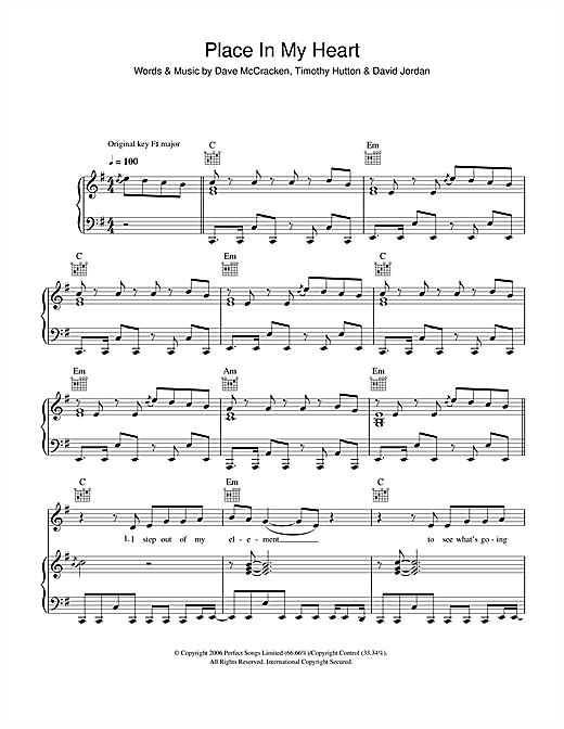 David Jordan Place In My Heart sheet music notes and chords