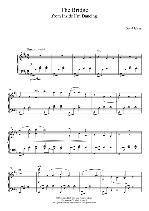 David Julyan The Bridge (from 'Inside I'm Dancing') sheet music notes and chords