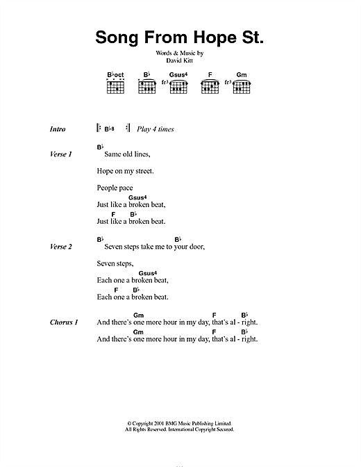 David Kitt Song From Hope St. sheet music notes and chords. Download Printable PDF.
