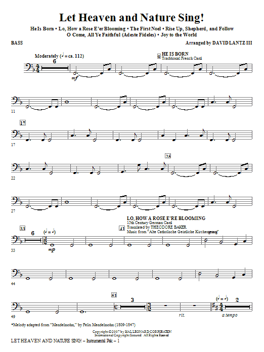 David Lantz III Let Heaven And Nature Sing! - Bass sheet music notes and chords. Download Printable PDF.