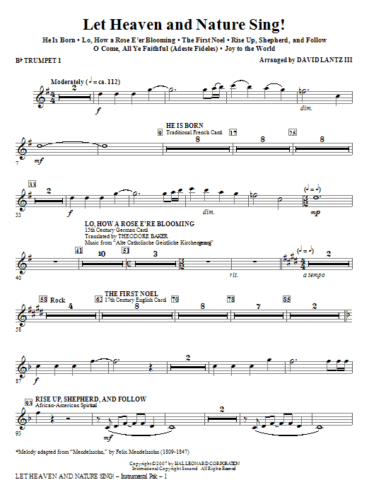 David Lantz III Let Heaven And Nature Sing! - Bb Trumpet 1 sheet music notes and chords. Download Printable PDF.
