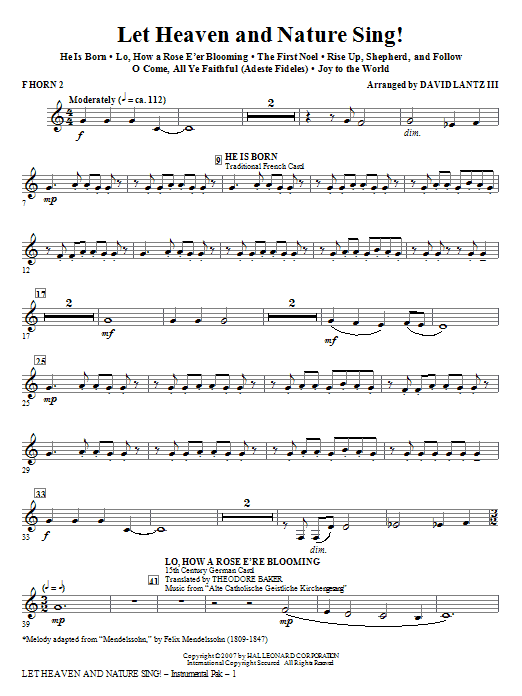 David Lantz III Let Heaven And Nature Sing! - F Horn 2 sheet music notes and chords. Download Printable PDF.