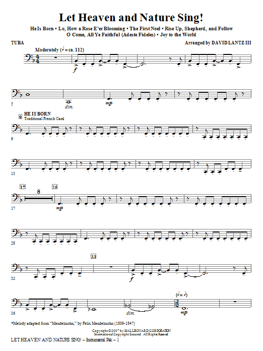 David Lantz III Let Heaven And Nature Sing! - Tuba sheet music notes and chords. Download Printable PDF.