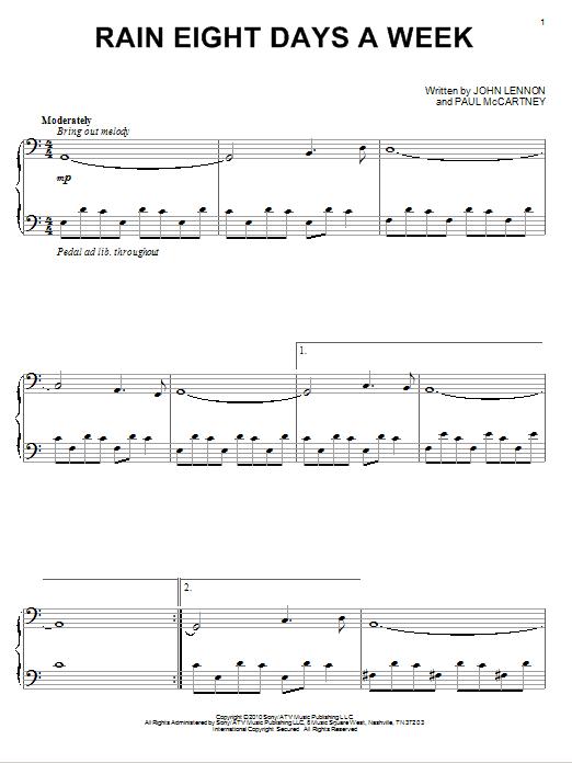 David Lanz Rain Eight Days A Week sheet music notes and chords. Download Printable PDF.