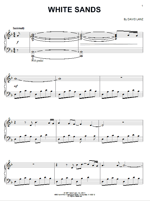 David Lanz White Sands sheet music notes and chords