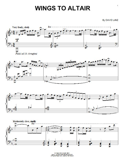 David Lanz Wings To Altair sheet music notes and chords. Download Printable PDF.