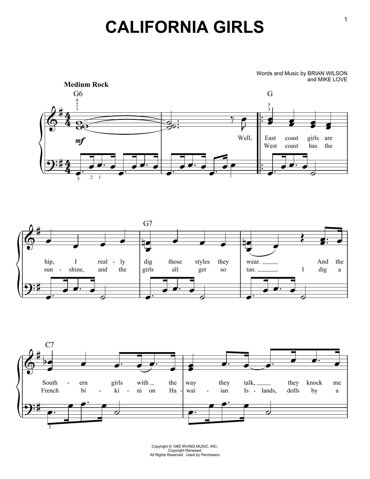 David Lee Roth California Girls sheet music notes and chords. Download Printable PDF.