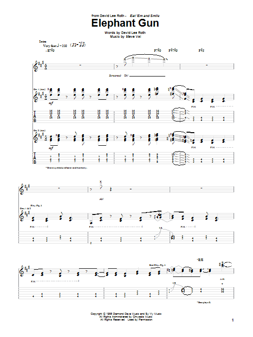 David Lee Roth Elephant Gun sheet music notes and chords. Download Printable PDF.