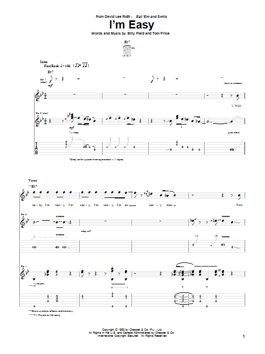 David Lee Roth I'm Easy sheet music notes and chords. Download Printable PDF.