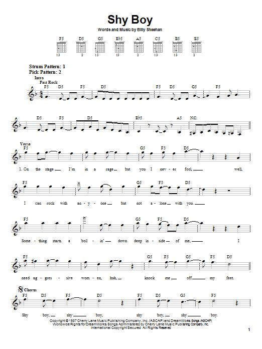 David Lee Roth Shy Boy sheet music notes and chords. Download Printable PDF.
