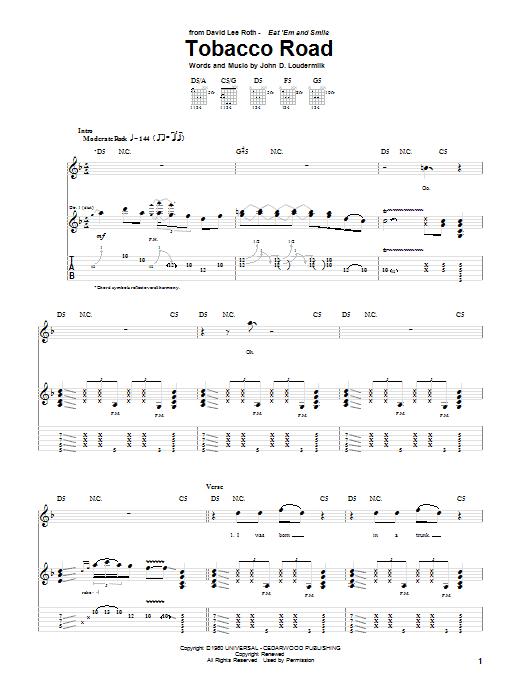 David Lee Roth Tobacco Road sheet music notes and chords. Download Printable PDF.