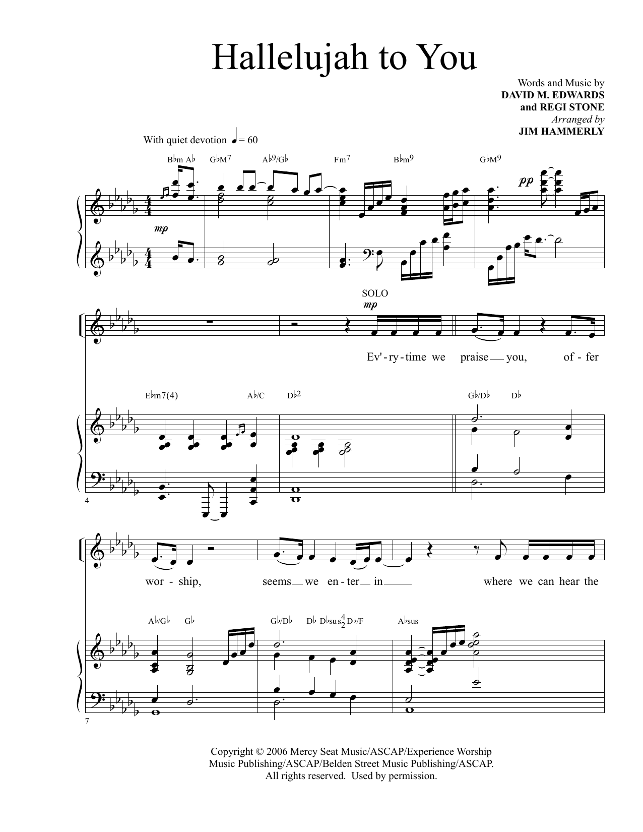David M. Edwards and Regi Stone Hallelujah To You (arr. Jim Hammerly) sheet music notes and chords. Download Printable PDF.