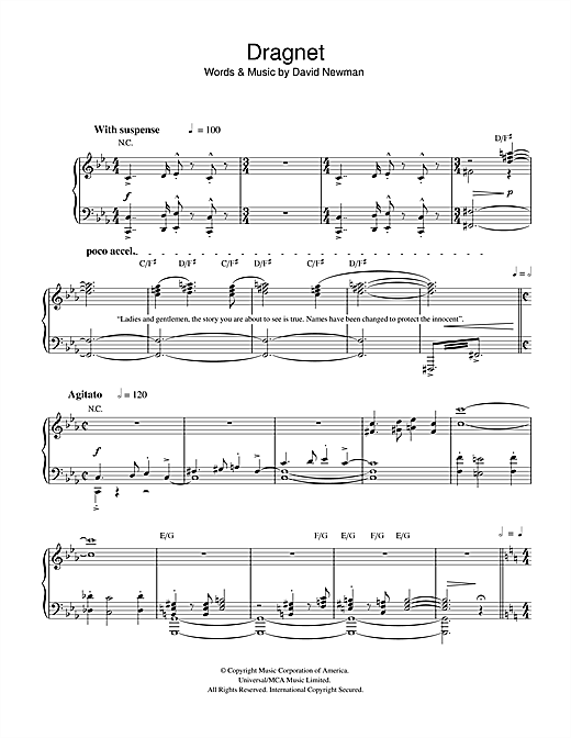 David Newman Dragnet sheet music notes and chords. Download Printable PDF.
