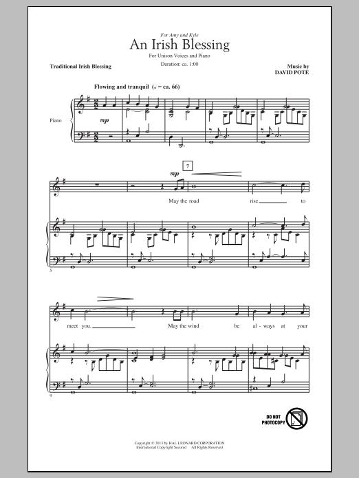 David Pote An Irish Blessing sheet music notes and chords