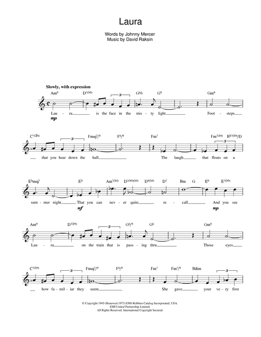 David Raksin Laura sheet music notes and chords. Download Printable PDF.