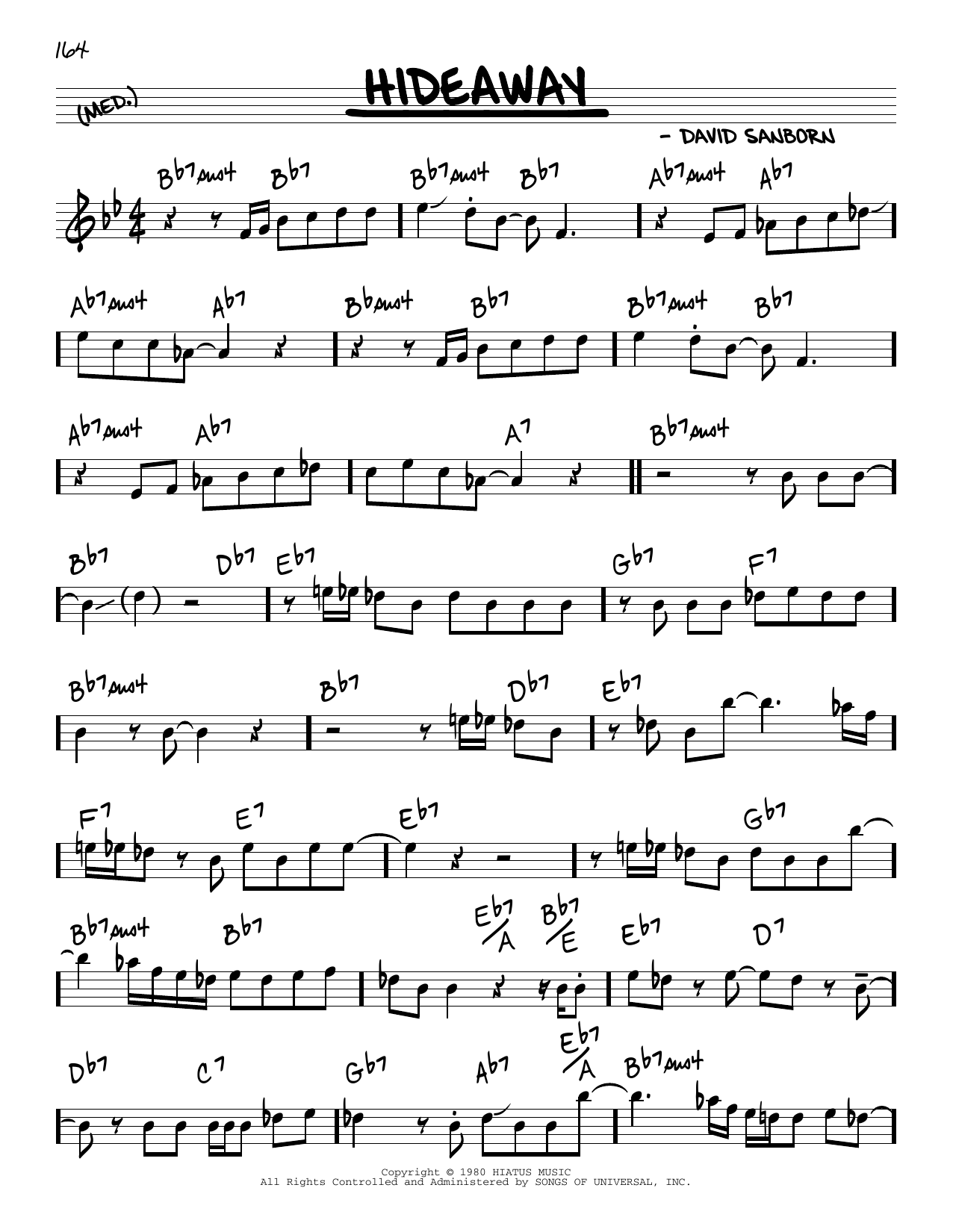 David Sanborn Hideaway sheet music notes and chords. Download Printable PDF.