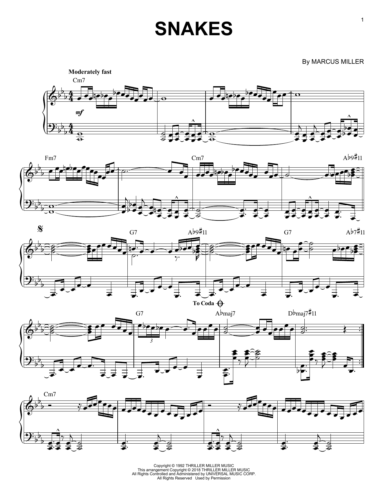 David Sanborn Snakes sheet music notes and chords. Download Printable PDF.
