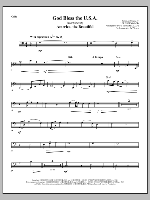 David Schmidt God Bless The U.S.A. - Cello sheet music notes and chords. Download Printable PDF.