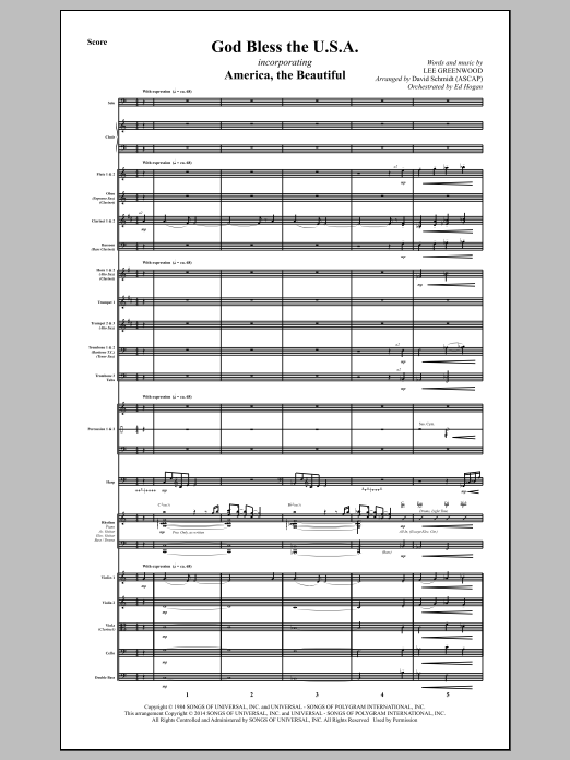 David Schmidt God Bless The U.S.A. - Full Score sheet music notes and chords. Download Printable PDF.