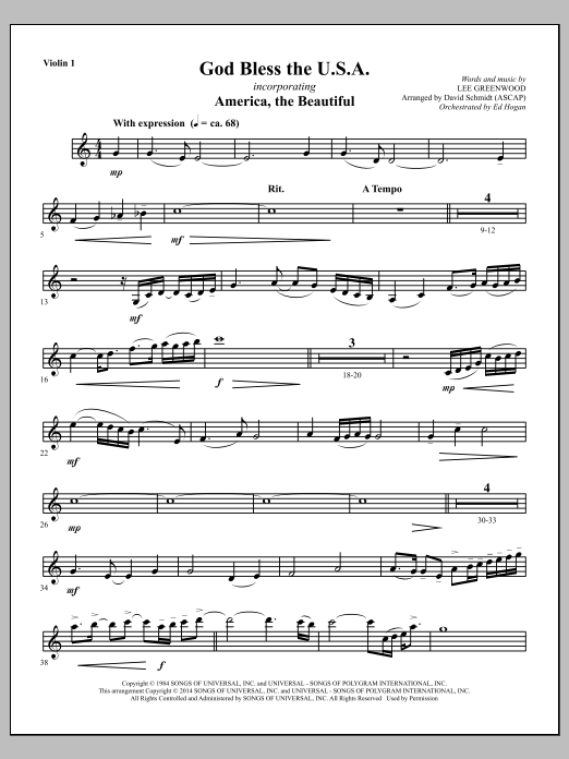 David Schmidt God Bless The U.S.A. - Violin 1 sheet music notes and chords. Download Printable PDF.
