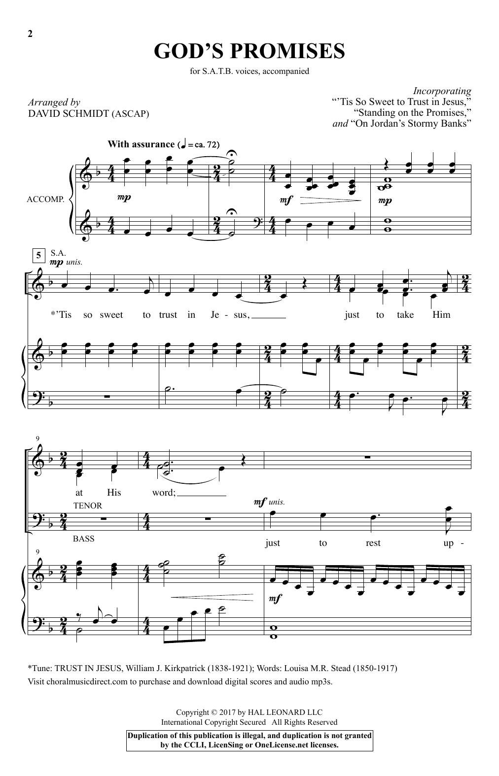 David Schmidt God's Promises sheet music notes and chords. Download Printable PDF.