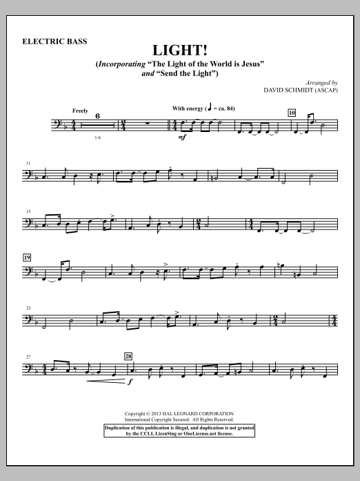 David Schmidt Light! - Electric Bass sheet music notes and chords. Download Printable PDF.