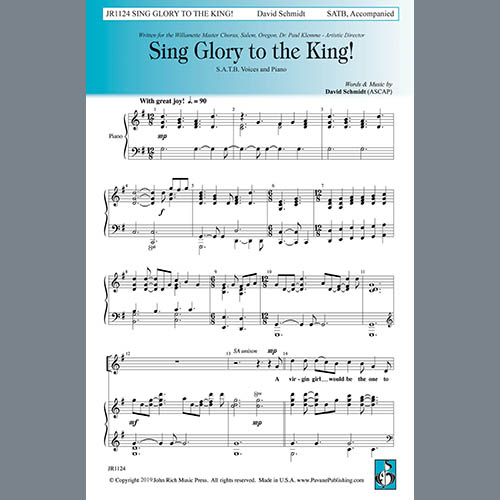 Easily Download David Schmidt Printable PDF piano music notes, guitar tabs for SATB Choir. Transpose or transcribe this score in no time - Learn how to play song progression.