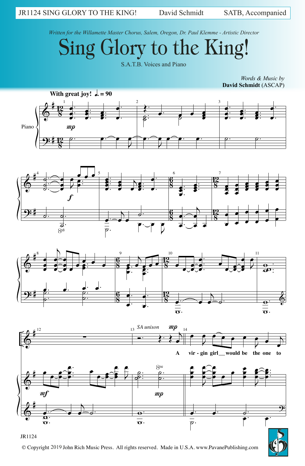 David Schmidt Sing Glory to the King sheet music notes and chords. Download Printable PDF.
