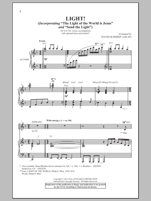 David Schmidt The Light Of The World Is Jesus sheet music notes and chords. Download Printable PDF.