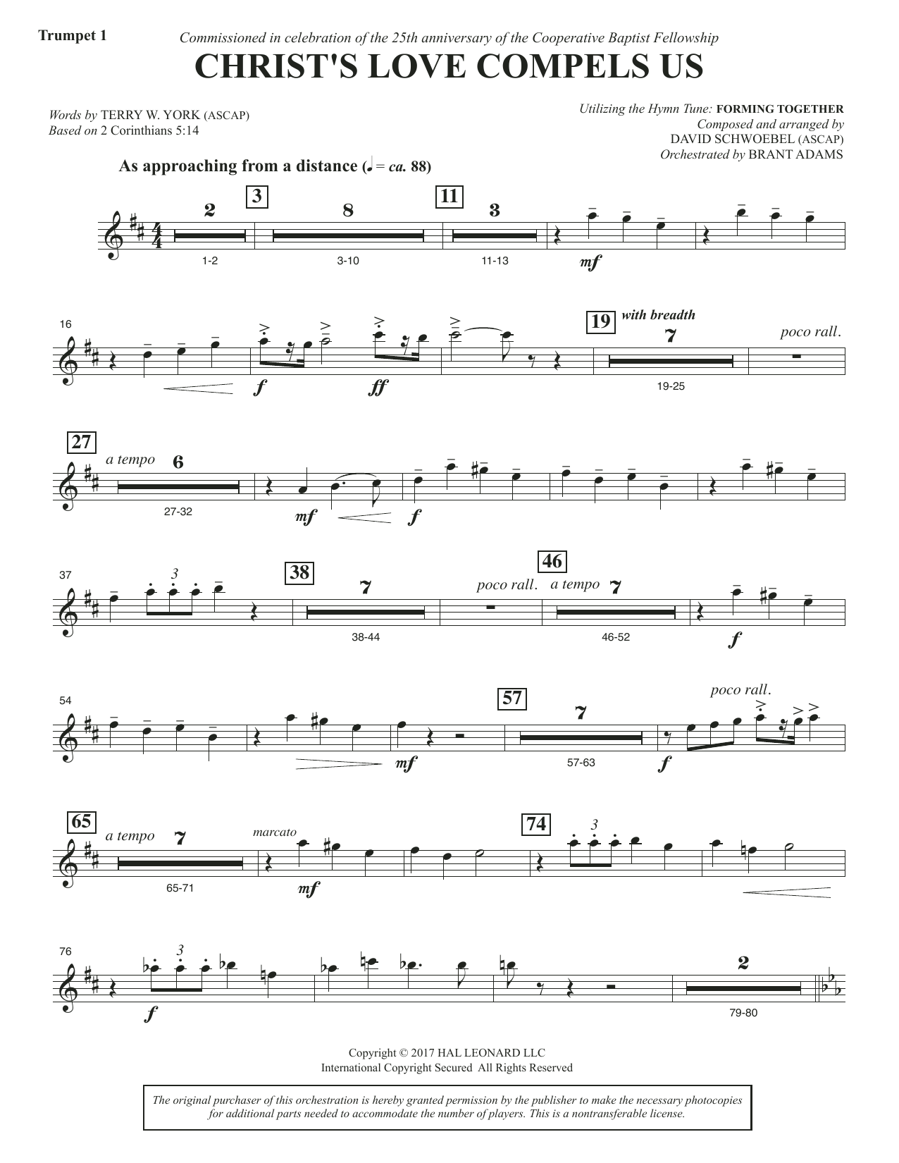 David Schwoebel Christ's Love Compels Us - Bb Trumpet 1 sheet music notes and chords. Download Printable PDF.