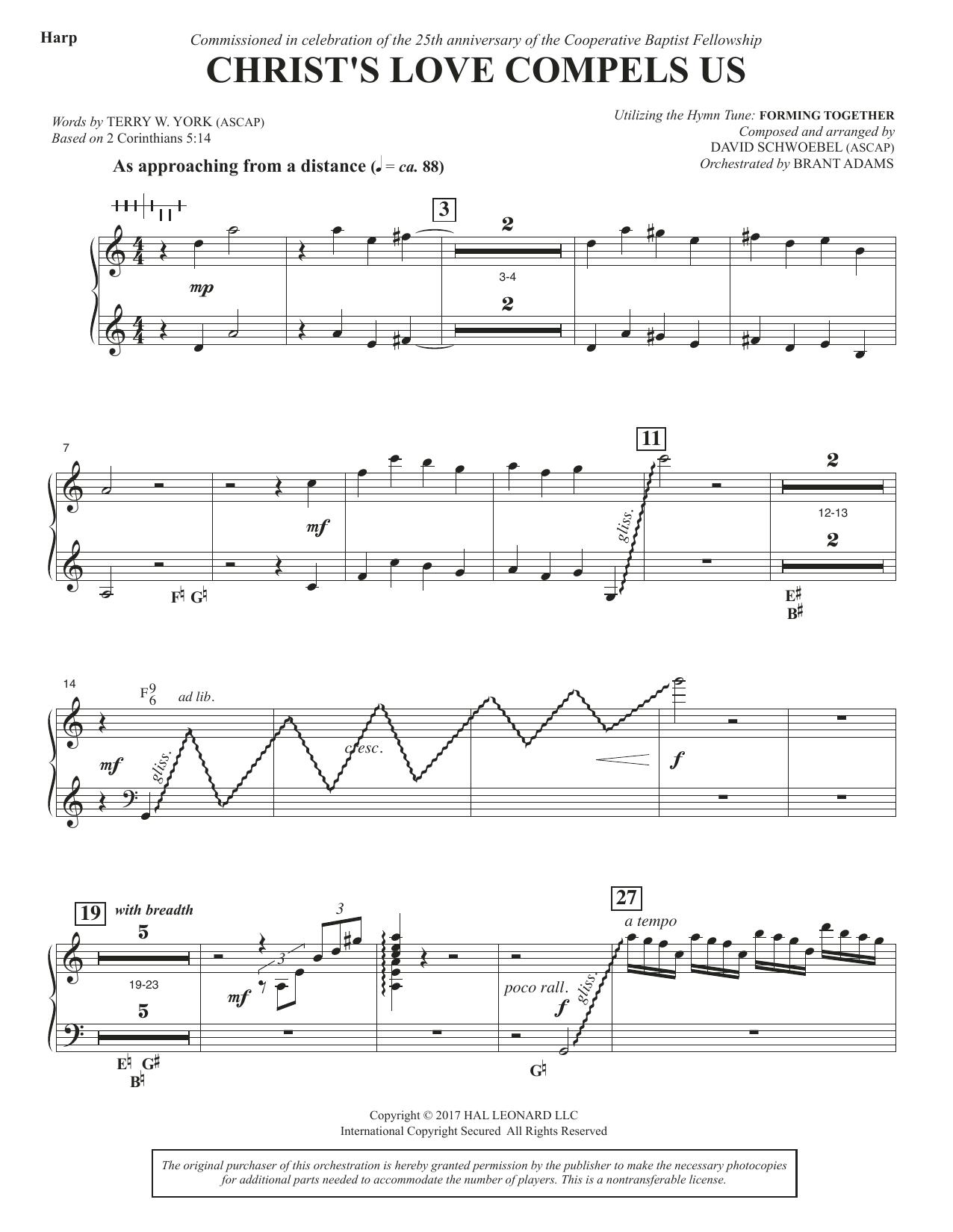 David Schwoebel Christ's Love Compels Us - Harp sheet music notes and chords. Download Printable PDF.