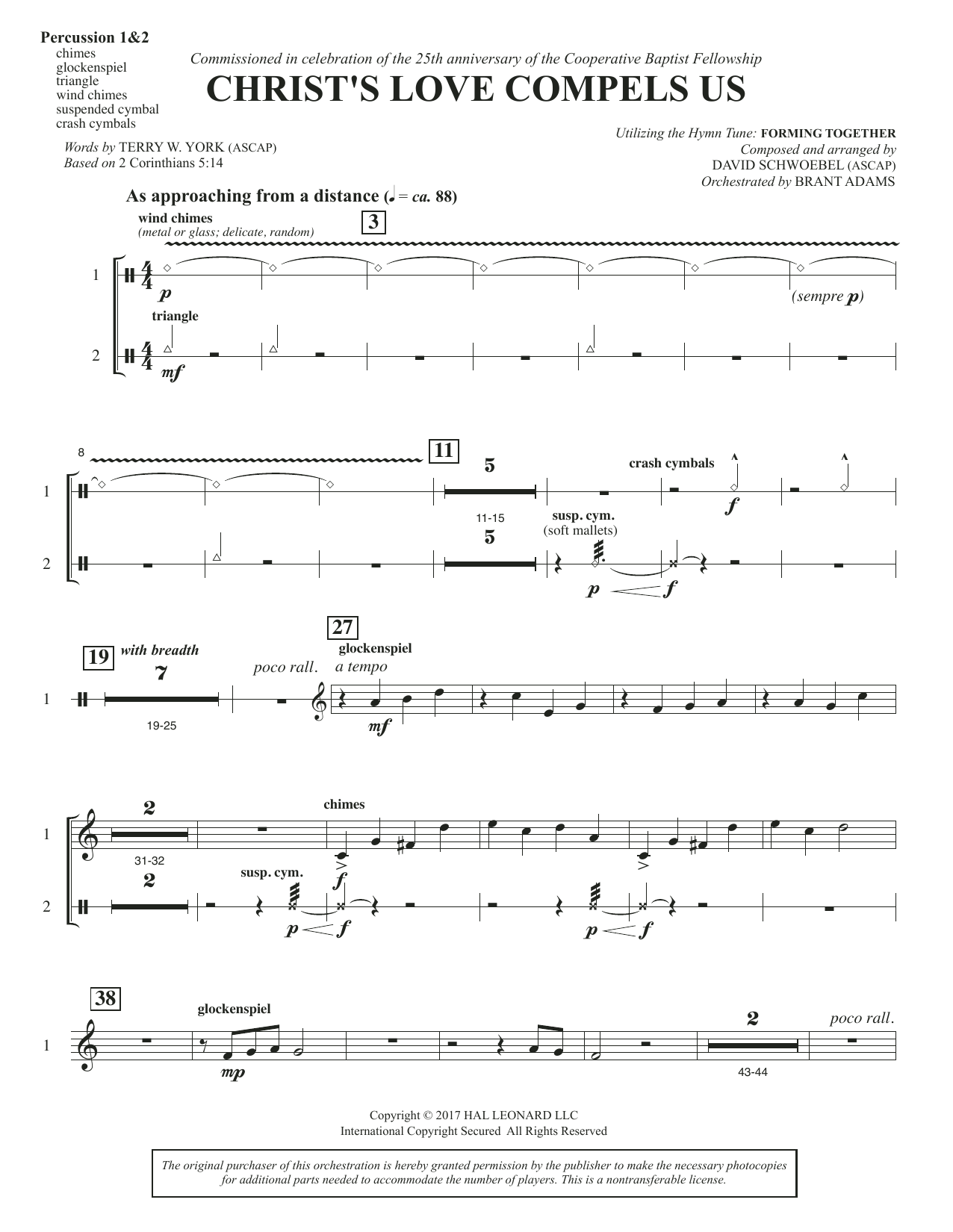 David Schwoebel Christ's Love Compels Us - Percussion 1 & 2 sheet music notes and chords. Download Printable PDF.