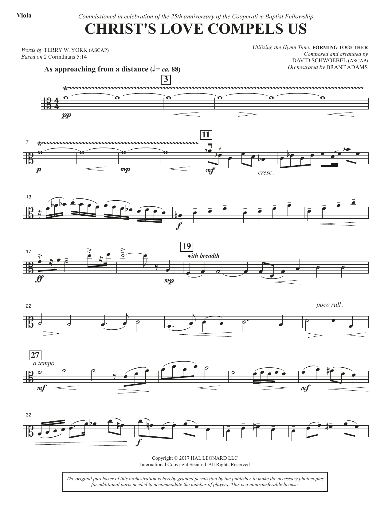 David Schwoebel Christ's Love Compels Us - Viola sheet music notes and chords. Download Printable PDF.