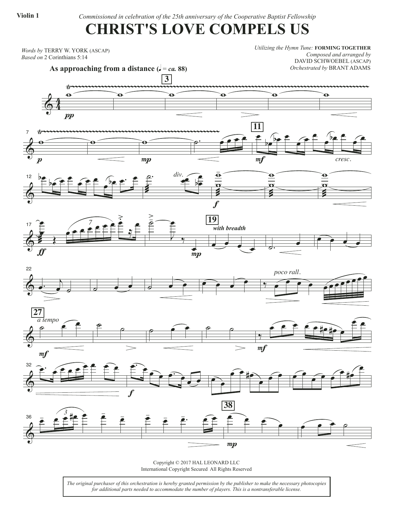 David Schwoebel Christ's Love Compels Us - Violin 1 sheet music notes and chords. Download Printable PDF.