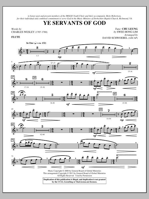 David Schwoebel Ye Servants of God - Flute sheet music notes and chords. Download Printable PDF.