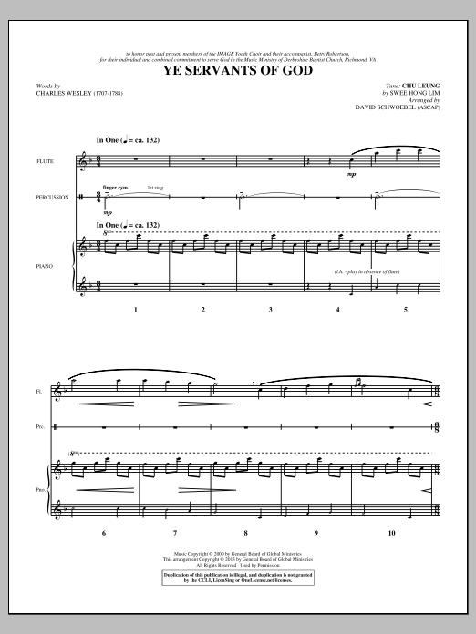 David Schwoebel Ye Servants of God - Score sheet music notes and chords. Download Printable PDF.