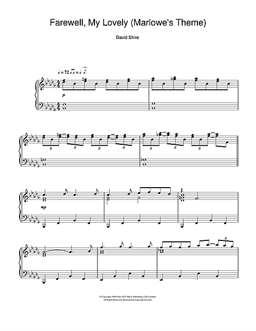 David Shire Farewell, My Lovely (Marlowe's Theme) sheet music notes and chords