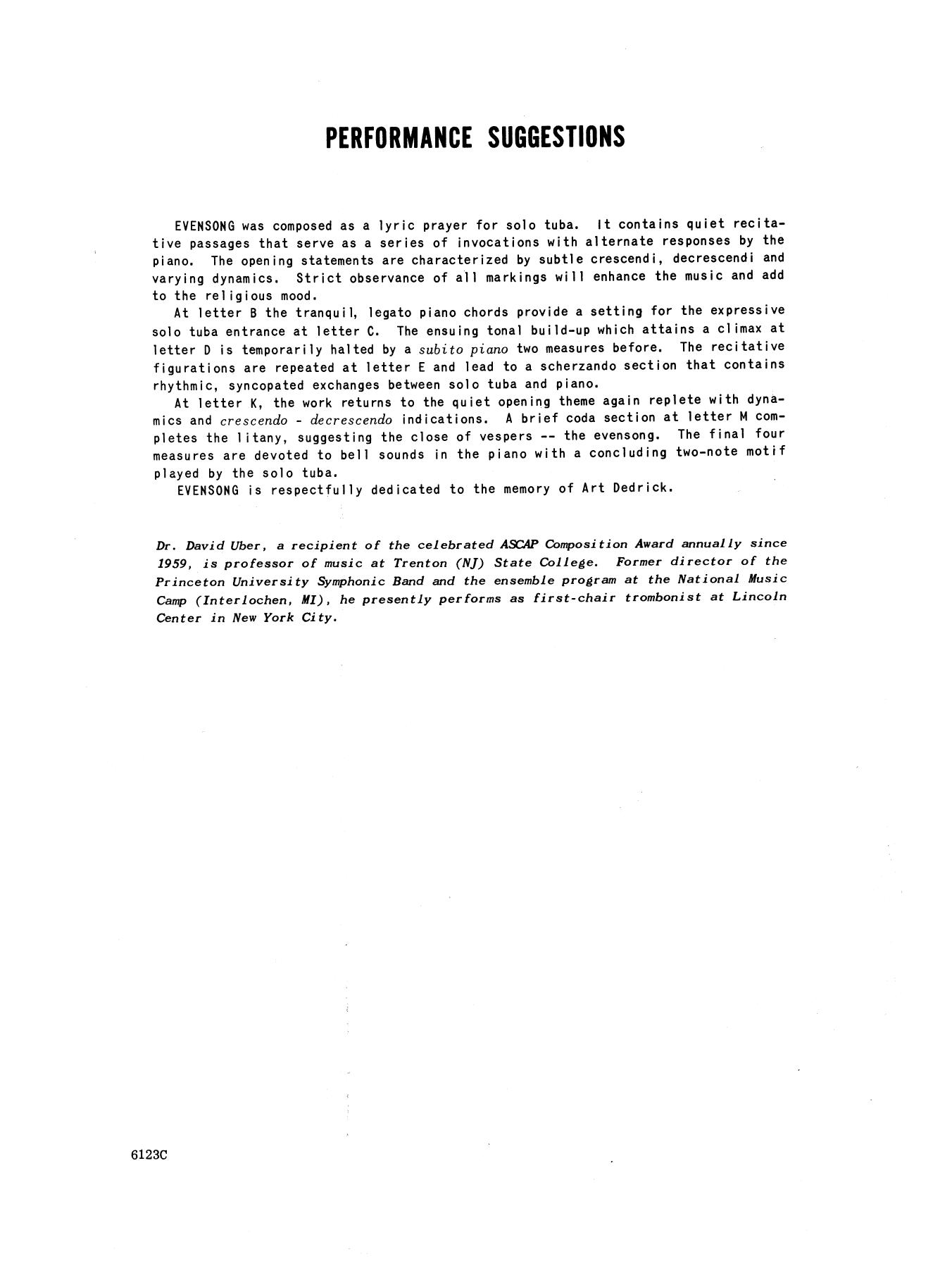 David Uber Evensong - Piano Accompaniment sheet music notes and chords. Download Printable PDF.