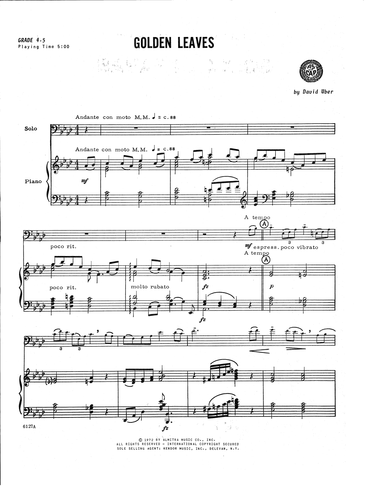 David Uber Golden Leaves - Piano Accompaniment sheet music notes and chords. Download Printable PDF.