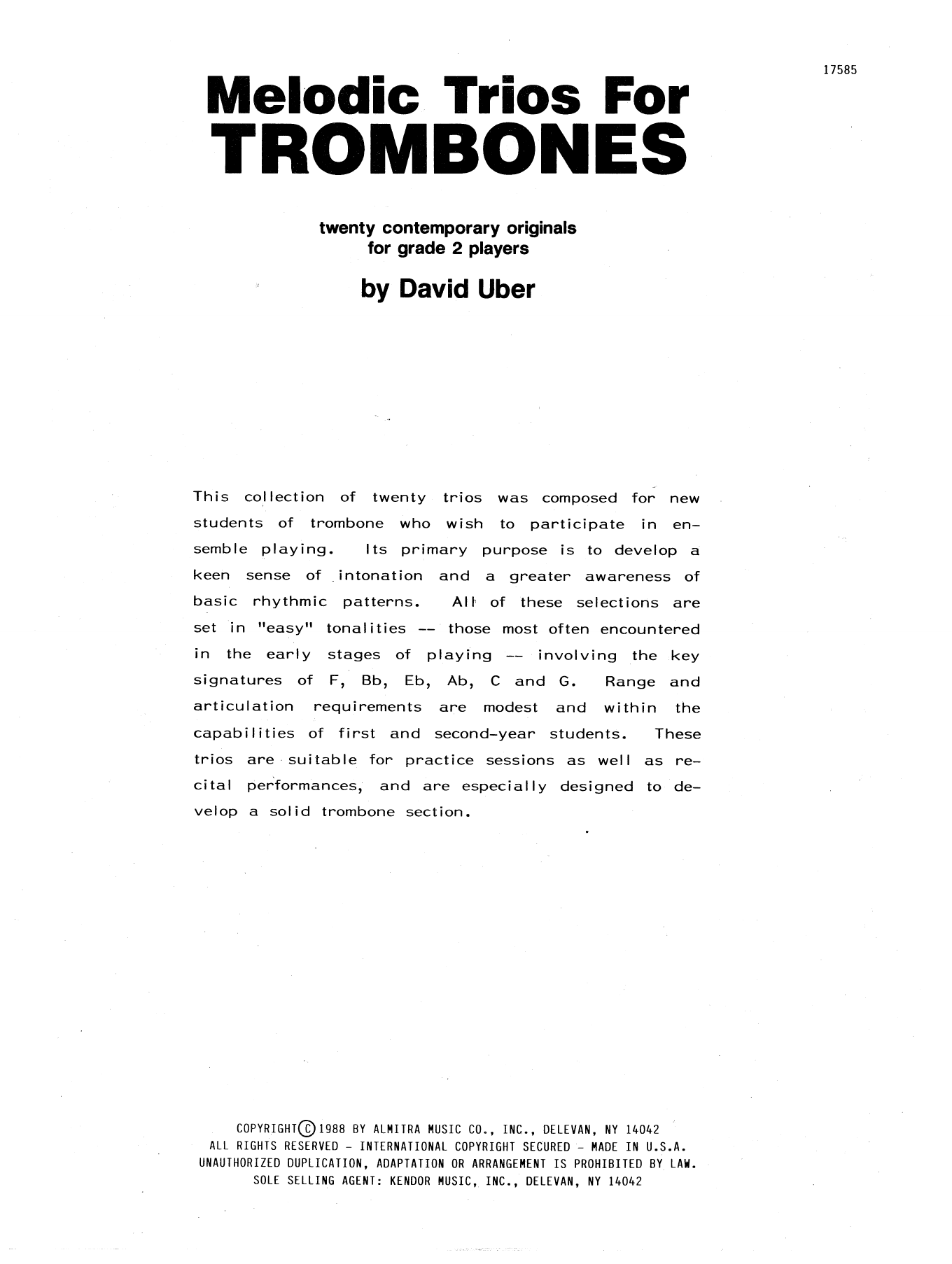 David Uber Melodic Trios For Trombones sheet music notes and chords