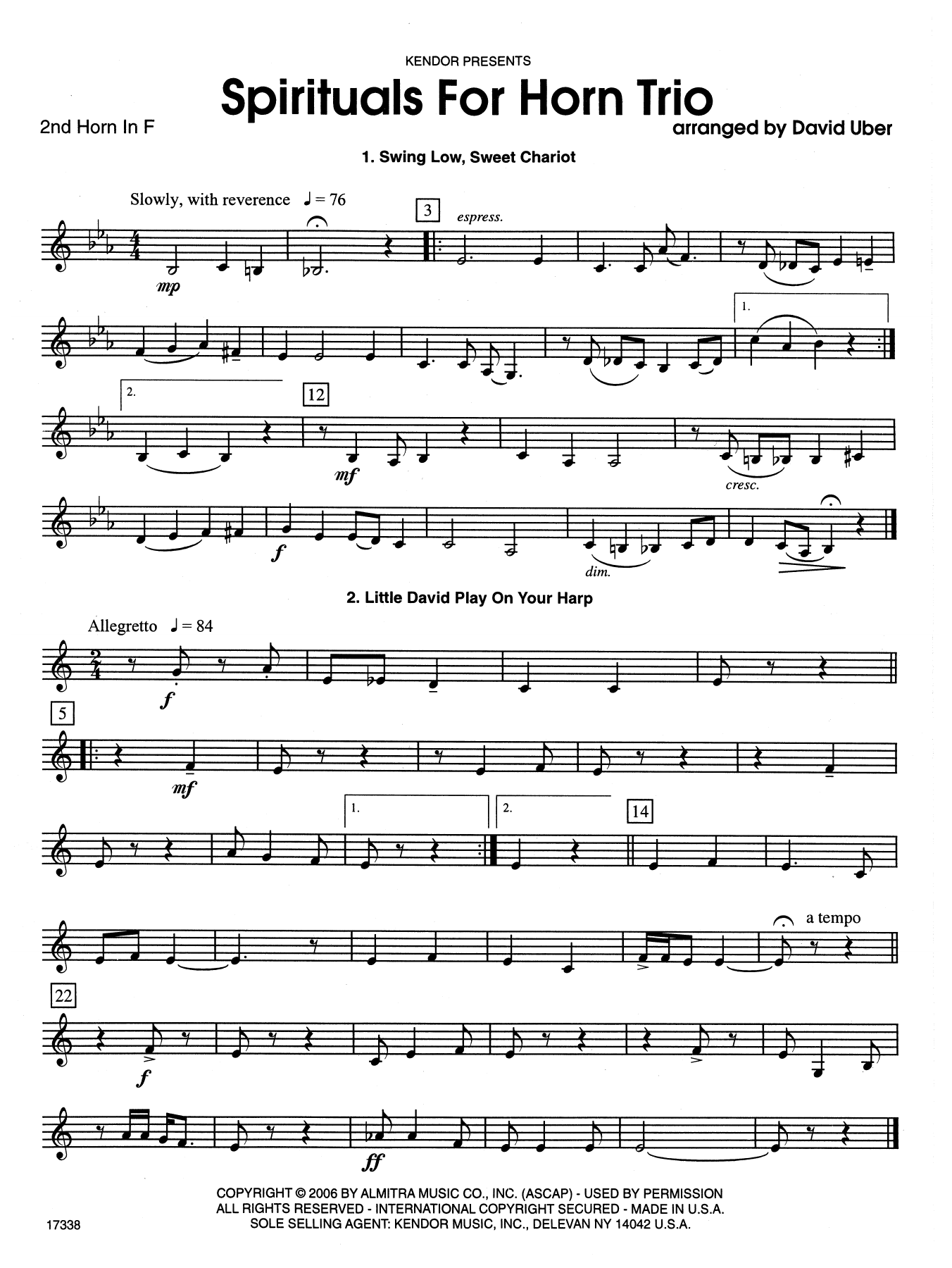 David Uber Spirituals For Horn Trio - 2nd Horn in F sheet music notes and chords. Download Printable PDF.