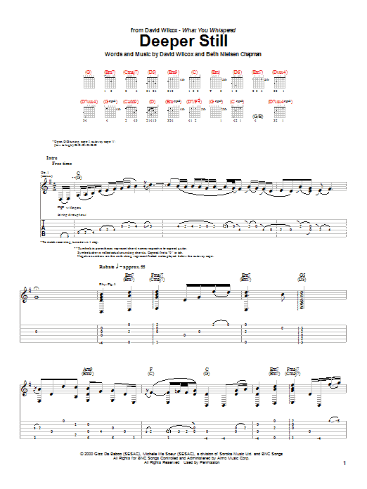David Wilcox Deeper Still sheet music notes and chords. Download Printable PDF.