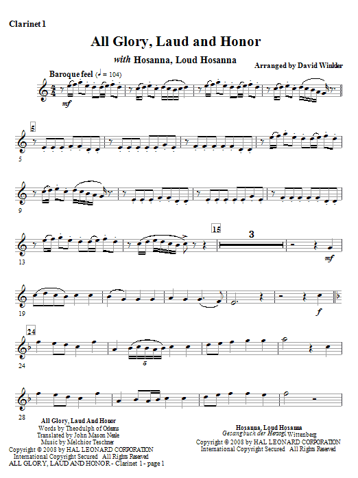 David Winkler All Glory, Laud, And Honor (with Hosanna, Loud Hosanna) - Bb Clarinet 1 sheet music notes and chords