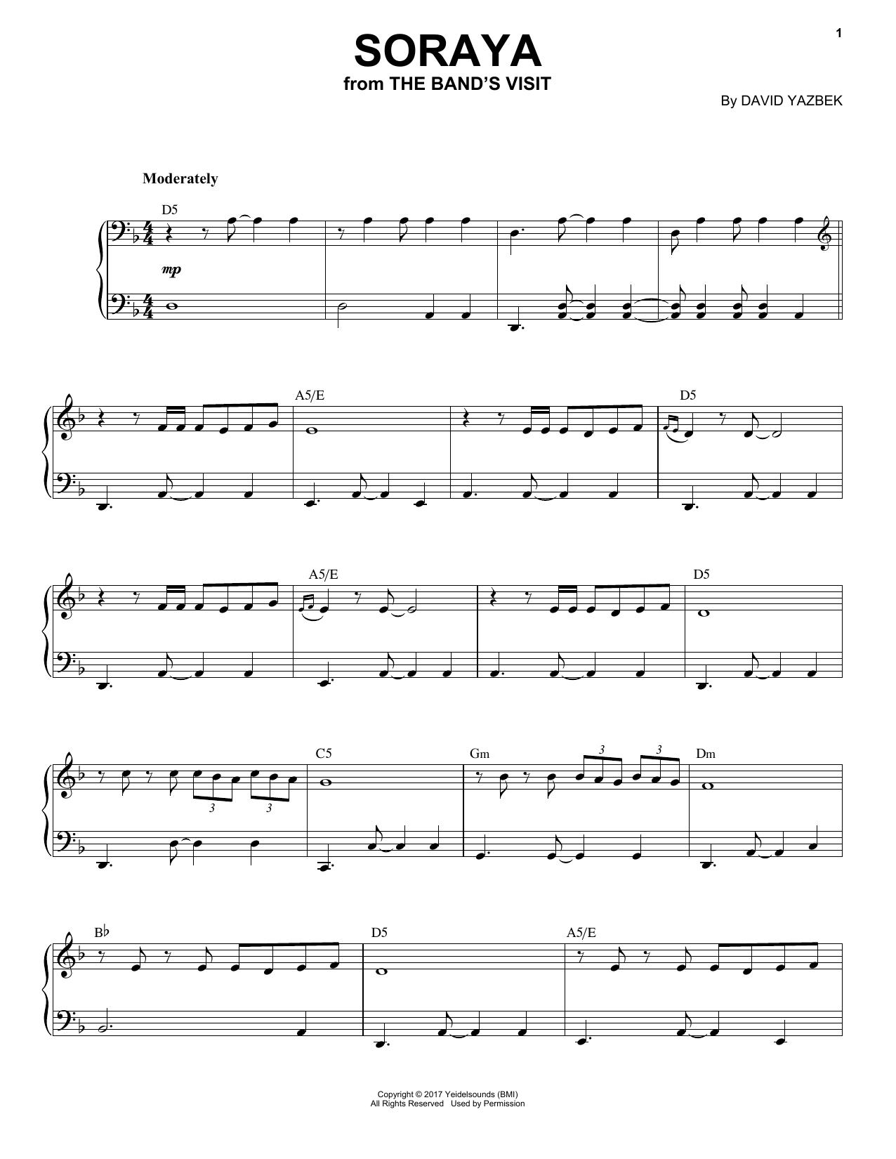 David Yazbek Soraya (from The Band's Visit) sheet music notes and chords. Download Printable PDF.