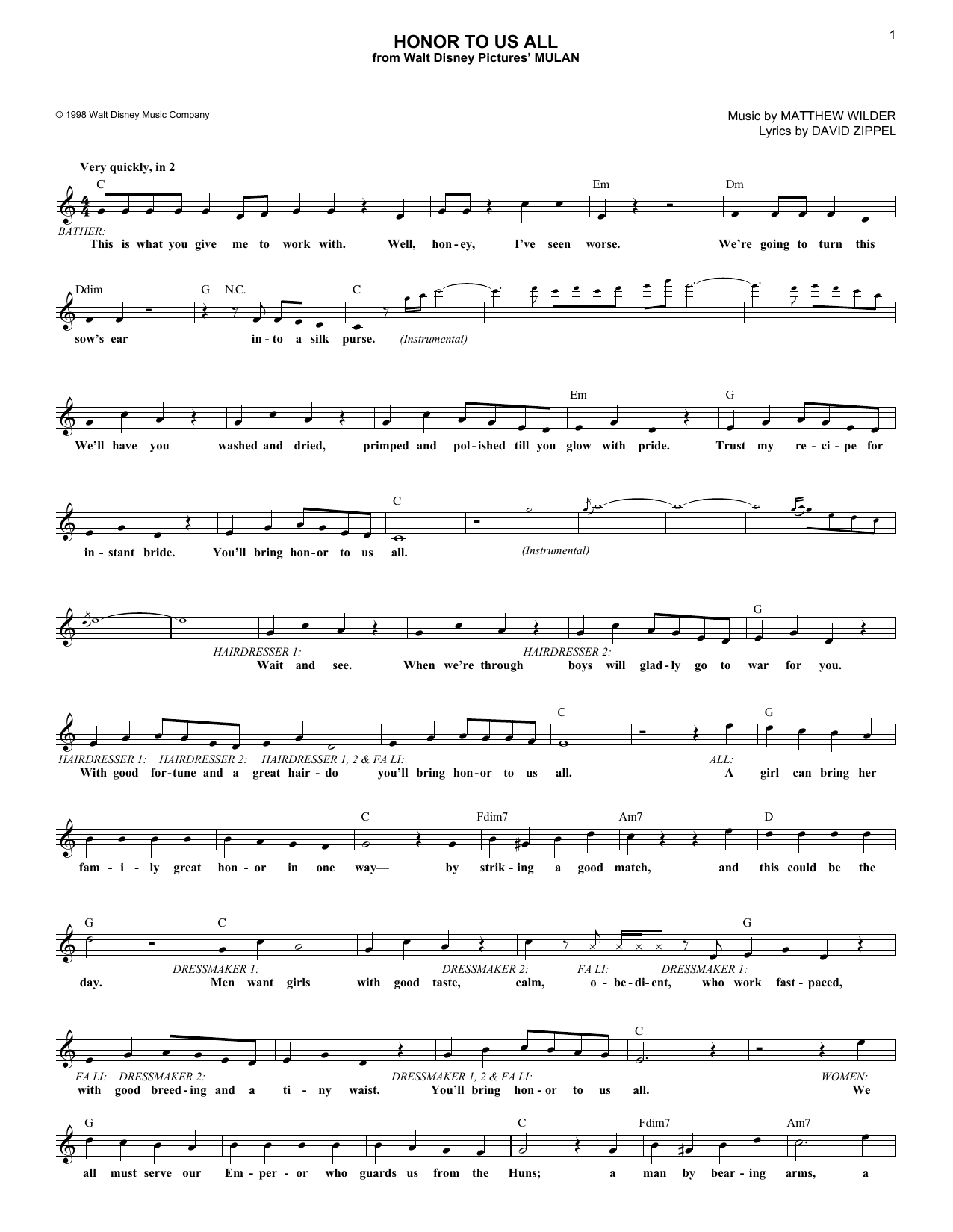 David Zippel Honor To Us All (from Mulan) sheet music notes and chords. Download Printable PDF.