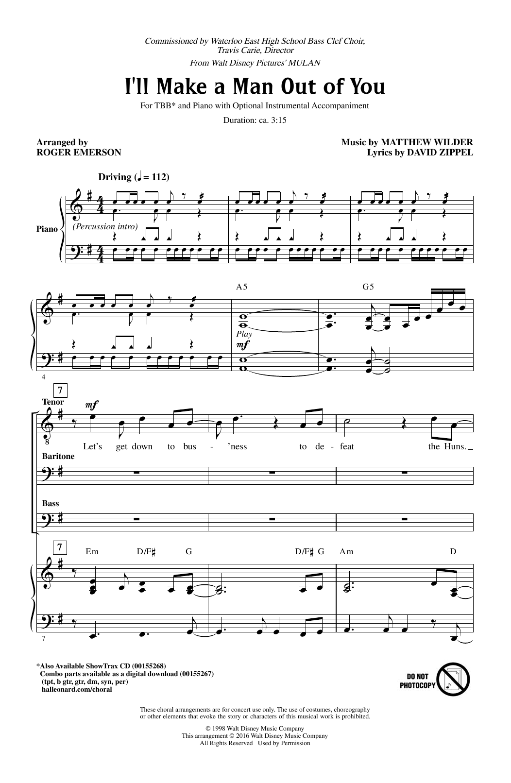 David Zippel I'll Make A Man Out Of You (from Mulan) (arr. Roger Emerson) sheet music notes and chords. Download Printable PDF.