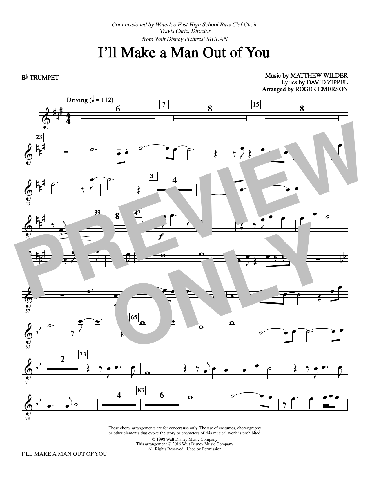 David Zippel I'll Make a Man Out of You from Mulan arr. Roger Emerson    Bb Trumpet Sheet Music Notes, Chords   Download Printable Choir ...