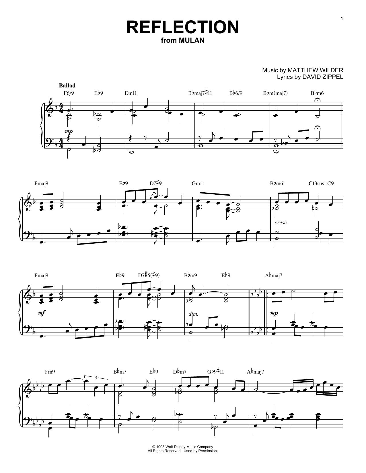 David Zippel Reflection [Jazz version] (from Disney's Mulan) sheet music notes and chords. Download Printable PDF.