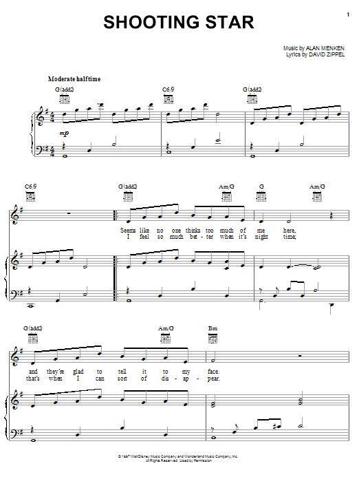 Alan Menken Shooting Star sheet music notes and chords. Download Printable PDF.